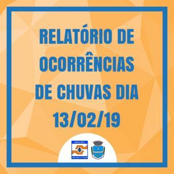 RELATÓRIO DE OCORRÊNCIAS DE CHUVAS DIA 13/02/19