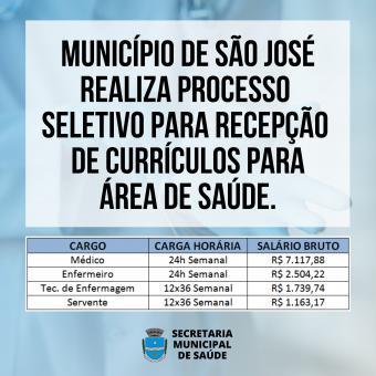 MUNICÍPIO REALIZA PROCESSO SELETIVO PARA RECEPÇÃO DE CURRÍCULOS PARA ÁREA DE SAÚDE.
