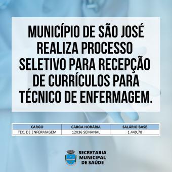 MUNICÍPIO REALIZA PROCESSO SELETIVO PARA RECEBIMENTO DE CURRÍCULOS.