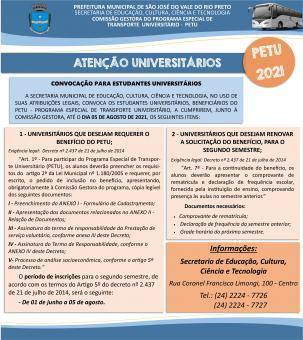 UNIVERSITÁRIOS QUE DESEJAM REQUERER O BENEFÍCIO DO PETU