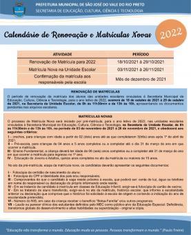 Calendário de Renovação e Matrículas Novas
